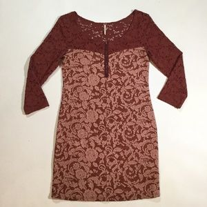 Anthropologie Free People Sz M Lace & Velvet Dress